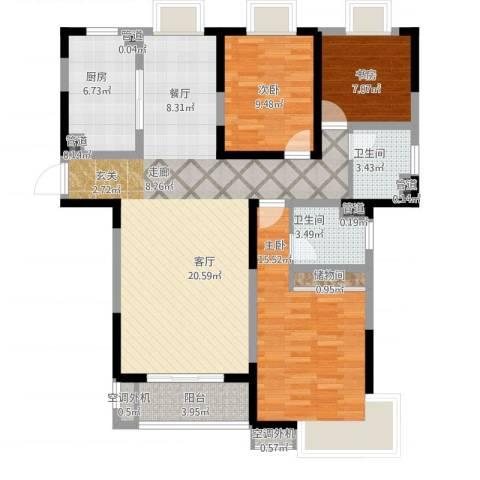 齐河德百玫瑰园3室1厅2卫1厨134.00㎡户型图