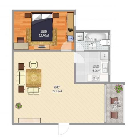 明珠广场1室1厅1卫1厨67.00㎡户型图