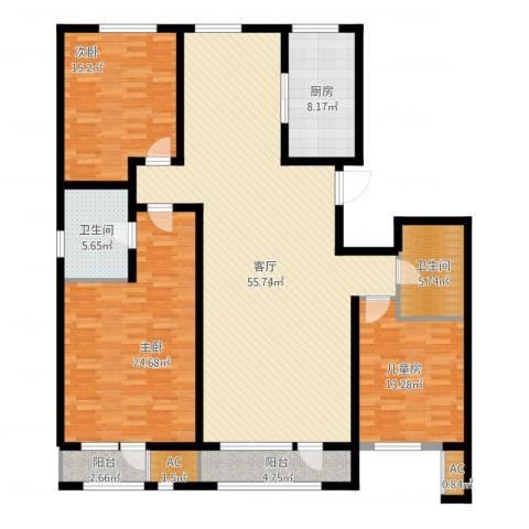新华联雅园3室1厅4卫1厨195.00㎡户型图