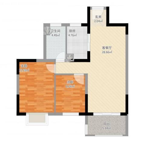 花样年别样城2室1厅1卫1厨93.00㎡户型图