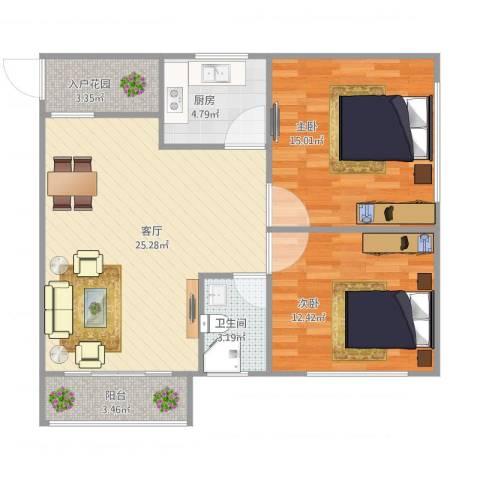 梅宾公安宿舍2室1厅1卫1厨91.00㎡户型图