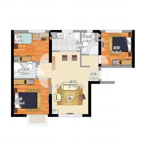 金地格林泊乐3室1厅2卫1厨86.00㎡户型图