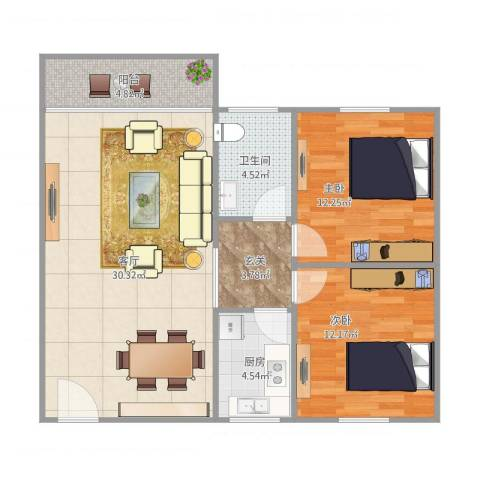 明桂苑2室1厅1卫1厨97.00㎡户型图