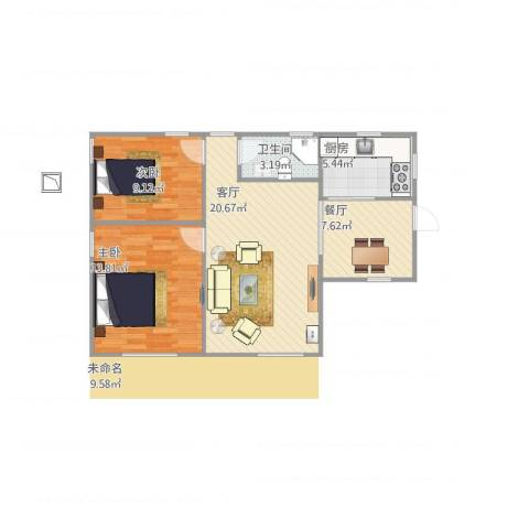 东堤水岸2室2厅1卫1厨80.00㎡户型图
