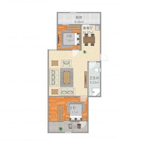 东环花园2室1厅1卫1厨91.00㎡户型图