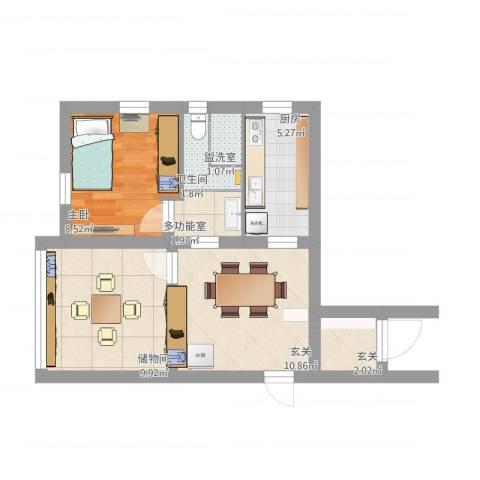 桂巷新村12131室1厅1卫1厨63.00㎡户型图