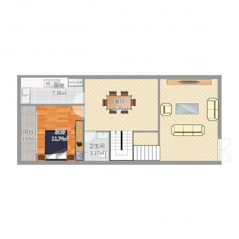 名门山庄1楼1室1厅1卫1厨101.00㎡户型图