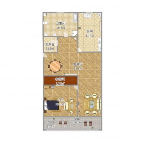 宝林六村1室1厅1卫1厨115.00㎡户型图