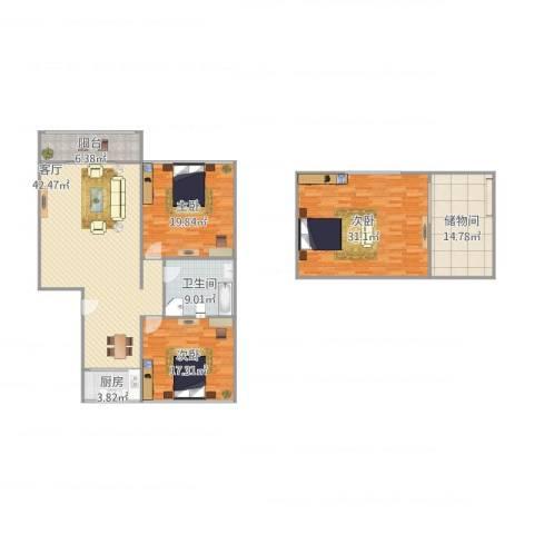 清联花园3室1厅1卫1厨192.00㎡户型图