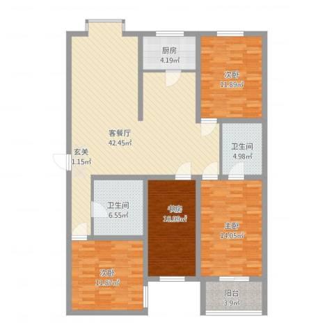 教授花园4室1厅2卫1厨158.00㎡户型图