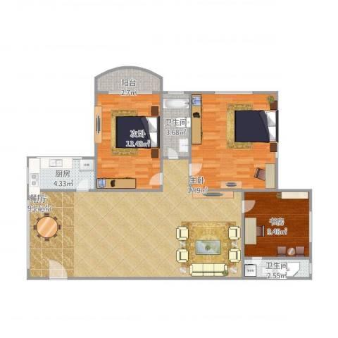 交警宿舍3室1厅2卫1厨129.00㎡户型图