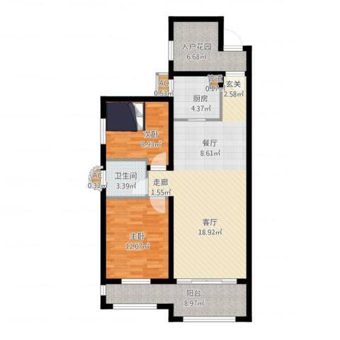大学里三期2室1厅1卫1厨111.00㎡户型图