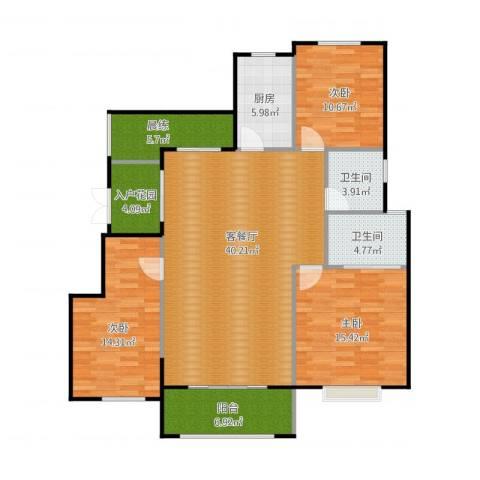 富兴御园3室1厅2卫1厨150.00㎡户型图