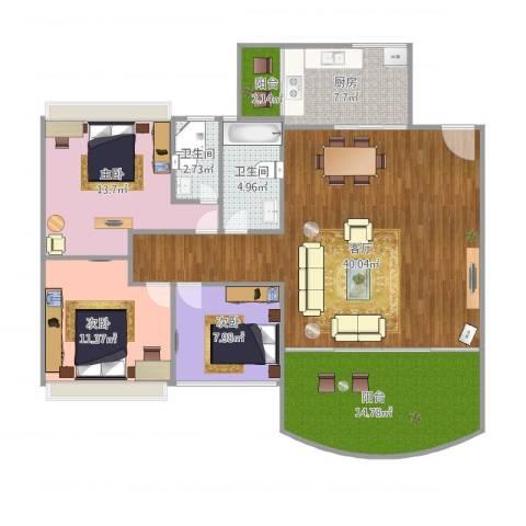 沙面新城3室1厅2卫1厨141.00㎡户型图
