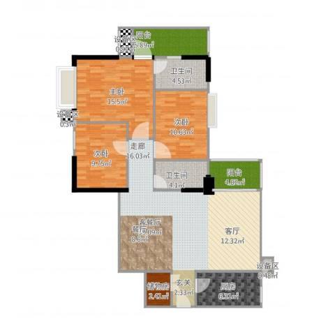 阳光都会广场3室1厅2卫1厨142.00㎡户型图