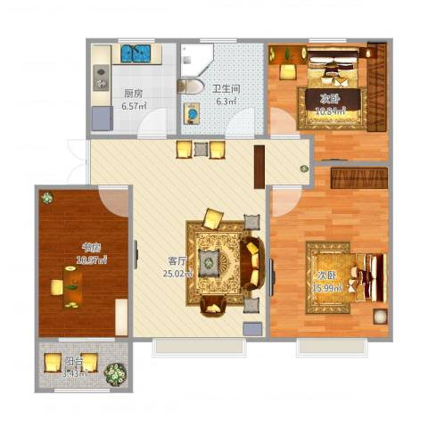 经纬宽世界-85㎡3室1厅1卫1厨106.00㎡户型图