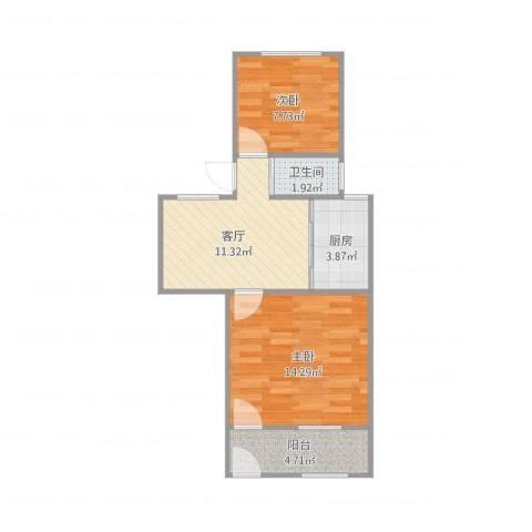 银城花园2室1厅1卫1厨60.00㎡户型图