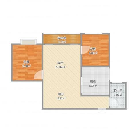 易家小区A-10012室1厅1卫1厨67.00㎡户型图