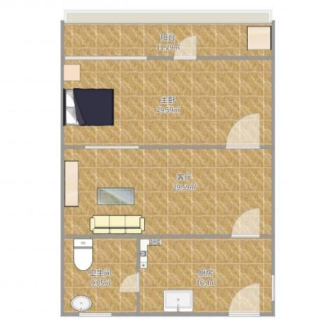 石泉一村1室1厅1卫1厨127.00㎡户型图
