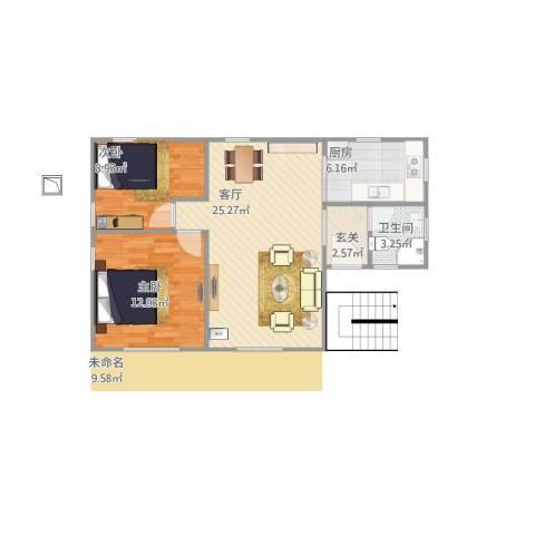 东堤水岸2室1厅1卫1厨80.00㎡户型图
