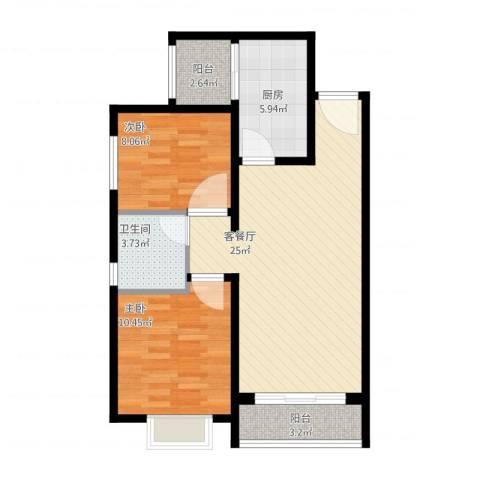 恒大幸福家园2室1厅1卫1厨85.00㎡户型图