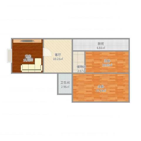 双花园西里3室1厅1卫1厨83.00㎡户型图