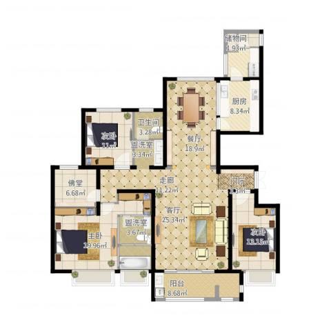 安阳万达广场3室1厅2卫2厨208.00㎡户型图