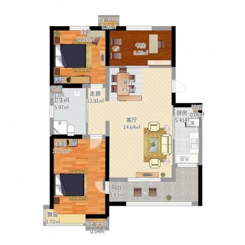 卓达三溪塘3室1厅1卫1厨131.00㎡户型图