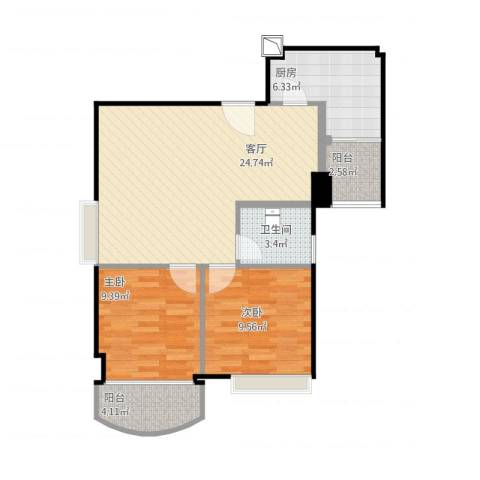 又一居2室1厅1卫1厨81.00㎡户型图