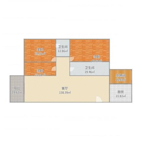 都汇豪庭3室1厅2卫1厨454.00㎡户型图