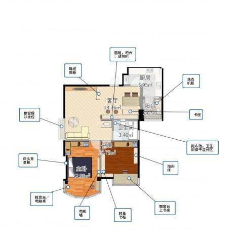 又一居2室1厅1卫1厨83.00㎡户型图