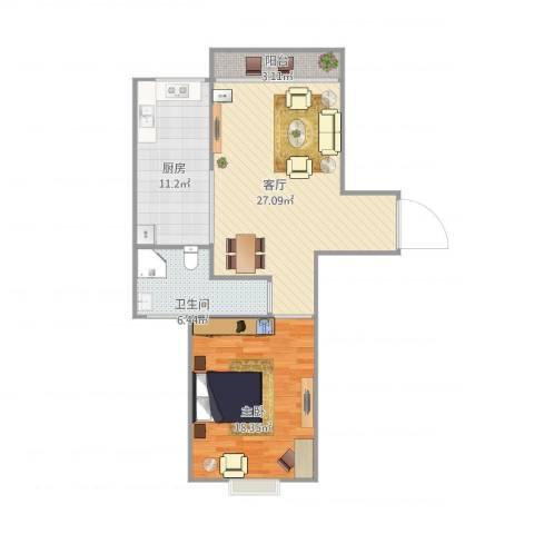书院1号公寓711室1厅1卫1厨89.00㎡户型图