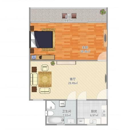 呼玛一村1室1厅1卫1厨87.14㎡户型图