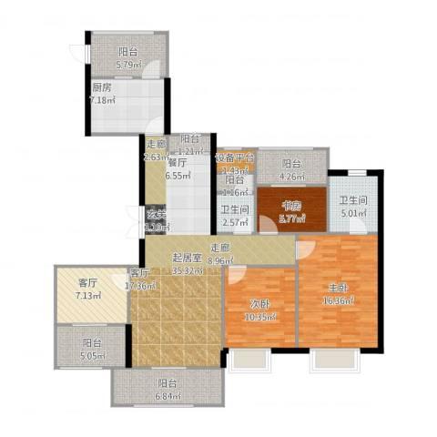 苏州世茂石湖湾3室1厅2卫1厨160.00㎡户型图