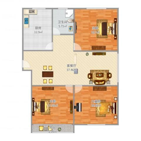 外贸大厦3室1厅1卫1厨151.00㎡户型图