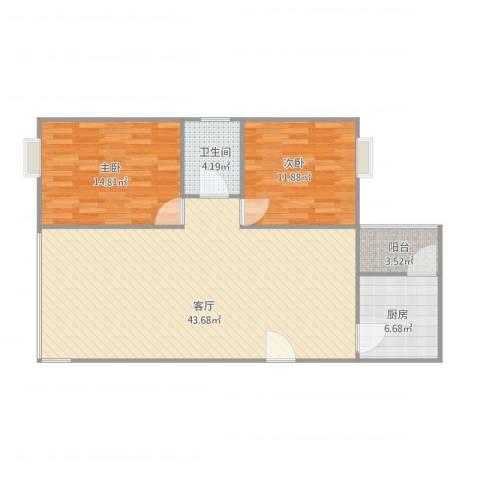 豪兴苑2室1厅1卫1厨112.00㎡户型图