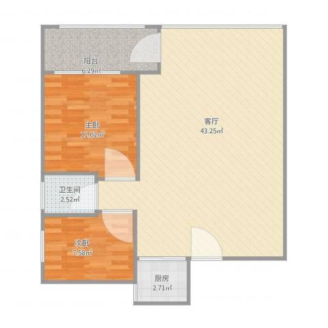 名苑华庭10012室1厅1卫1厨99.00㎡户型图