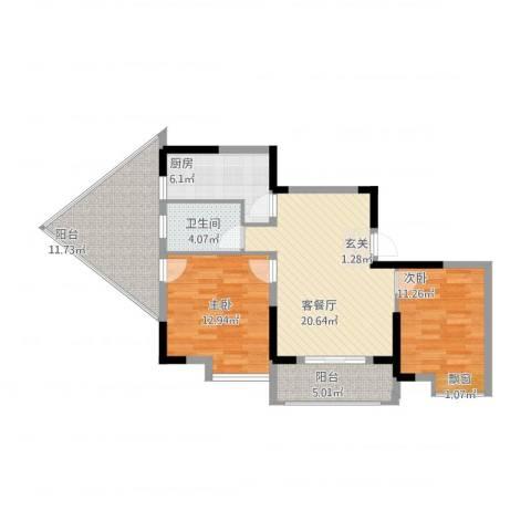 1+8时代广场2室1厅1卫1厨102.00㎡户型图