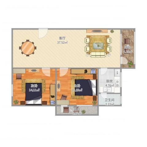 建发大厦2室1厅1卫1厨106.00㎡户型图