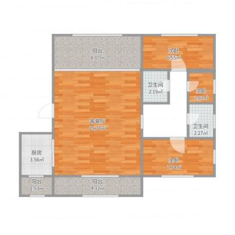宏都筑景3室1厅2卫1厨87.00㎡户型图