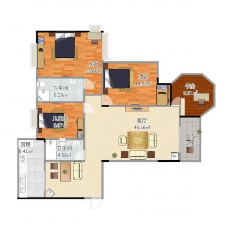 都昌县阳光国际4室1厅2卫1厨159.00㎡户型图