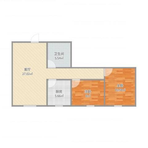 粤海广场2室1厅1卫1厨77.00㎡户型图