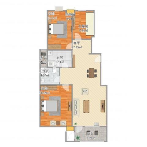 天一海馨园3室1厅2卫1厨124.00㎡户型图