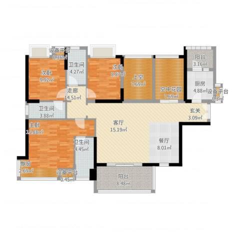 紫园2室1厅3卫1厨178.00㎡户型图