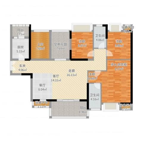 紫园2室1厅2卫1厨178.00㎡户型图