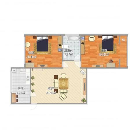 控江路18弄小区2室1厅1卫1厨88.00㎡户型图
