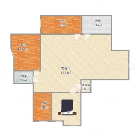 海景花园3室1厅1卫1厨184.00㎡户型图