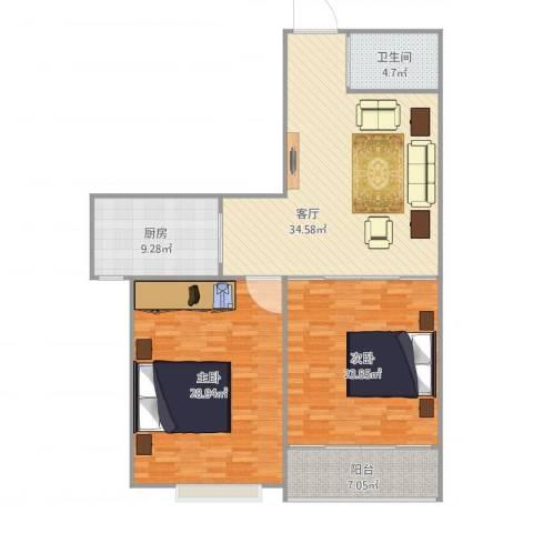 环球国际2室1厅1卫1厨114.71㎡户型图