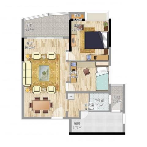 华景新城陶然庭苑2室1厅1卫1厨99.00㎡户型图