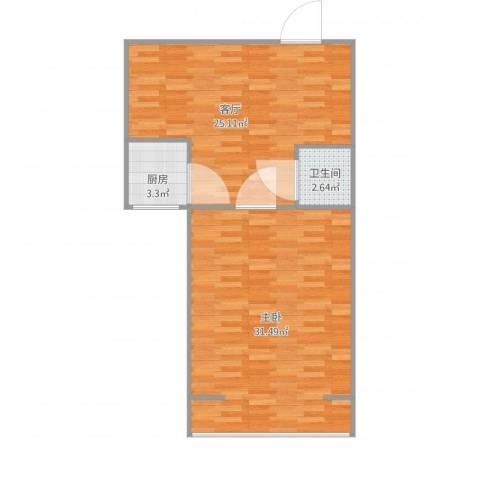 西罗园南里1室1厅1卫1厨83.00㎡户型图